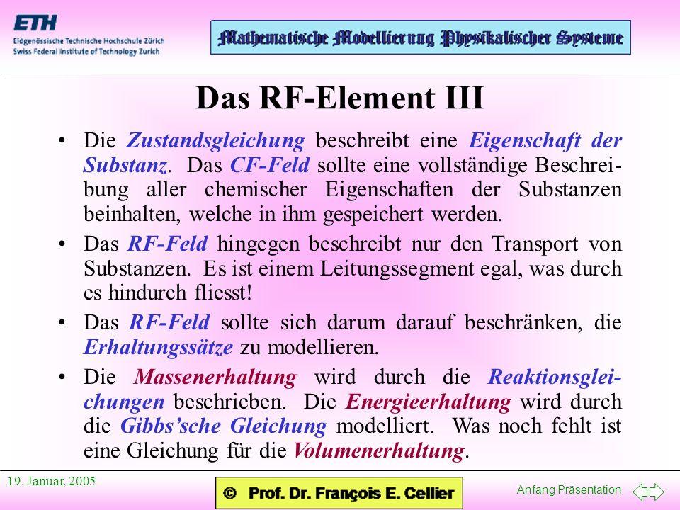 Anfang Präsentation 19. Januar, 2005 Die Zustandsgleichung beschreibt eine Eigenschaft der Substanz. Das CF-Feld sollte eine vollständige Beschrei- bu