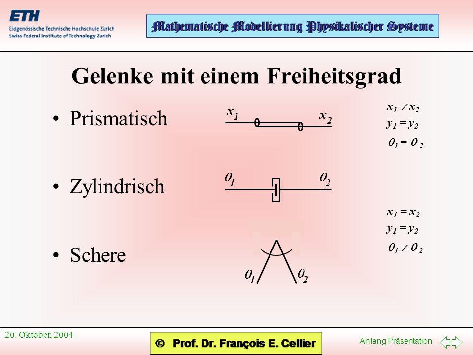 Anfang Präsentation 20. Oktober, 2004 Gelenke mit einem Freiheitsgrad Prismatisch Zylindrisch Schere x 1 x 2 x 1 x 2 y 1 = y 2 1 = 2 1 2 x 1 = x 2 y 1