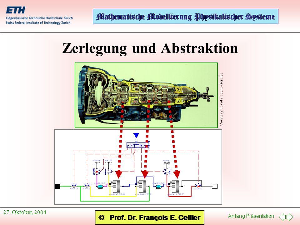 Anfang Präsentation 27. Oktober, 2004 Zerlegung und Abstraktion Courtesy Toyota Tecno-Service