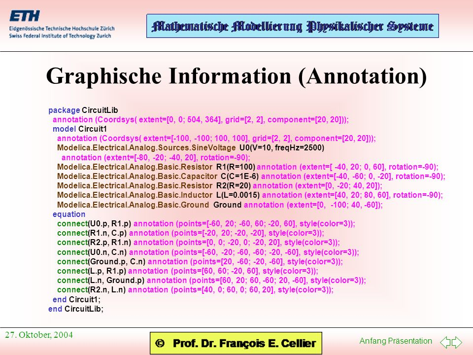 Anfang Präsentation 27. Oktober, 2004 Graphische Information (Annotation) package CircuitLib annotation (Coordsys( extent=[0, 0; 504, 364], grid=[2, 2