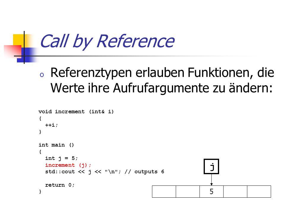 Call by Reference o Referenztypen erlauben Funktionen, die Werte ihre Aufrufargumente zu ändern: void increment (int& i) { ++i; } int main () { int j