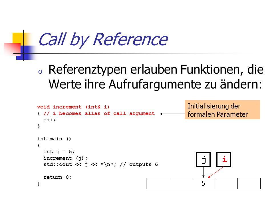 Call by Reference o Referenztypen erlauben Funktionen, die Werte ihre Aufrufargumente zu ändern: void increment (int& i) { // i becomes alias of call