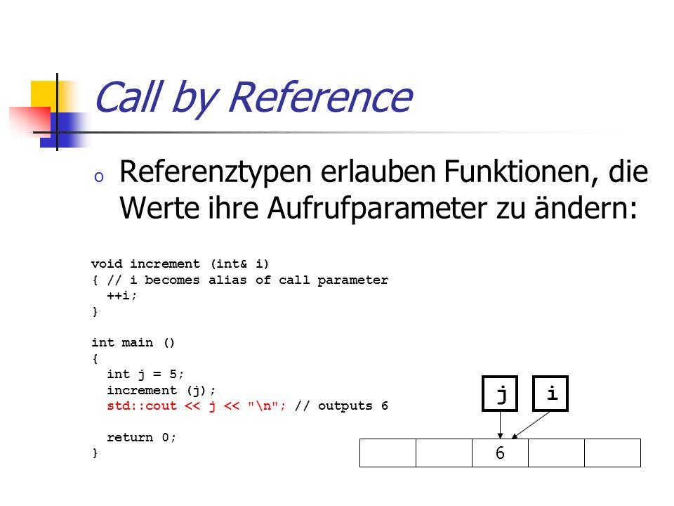 Call by Reference o Referenztypen erlauben Funktionen, die Werte ihre Aufrufparameter zu ändern: void increment (int& i) { // i becomes alias of call