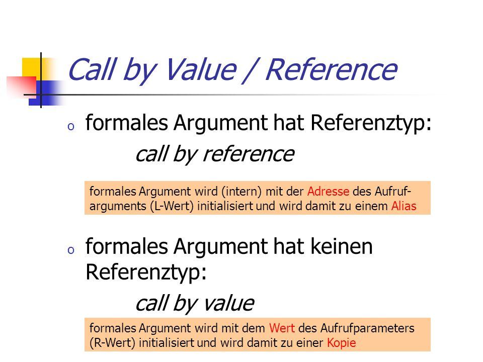 Call by Value / Reference o formales Argument hat Referenztyp: call by reference o formales Argument hat keinen Referenztyp: call by value formales Argument wird mit dem Wert des Aufrufparameters (R-Wert) initialisiert und wird damit zu einer Kopie formales Argument wird (intern) mit der Adresse des Aufruf- arguments (L-Wert) initialisiert und wird damit zu einem Alias