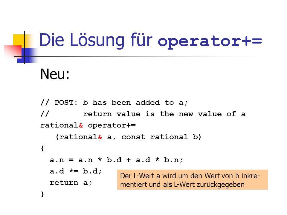 Die Lösung für operator+= Neu: // POST: b has been added to a; // return value is the new value of a rational& operator+= (rational& a, const rational b) { a.n = a.n * b.d + a.d * b.n; a.d *= b.d; return a; } Der L-Wert a wird um den Wert von b inkre- mentiert und als L-Wert zurückgegeben