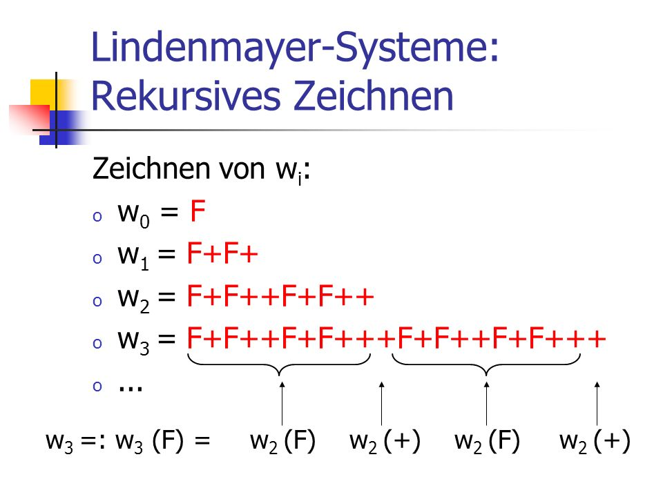 Zeichnen von w i : o w 0 = F o w 1 = F+F+ o w 2 = F+F++F+F++ o w 3 = F+F++F+F+++F+F++F+F+++ o... Lindenmayer-Systeme: Rekursives Zeichnen w 2 (F) w 2