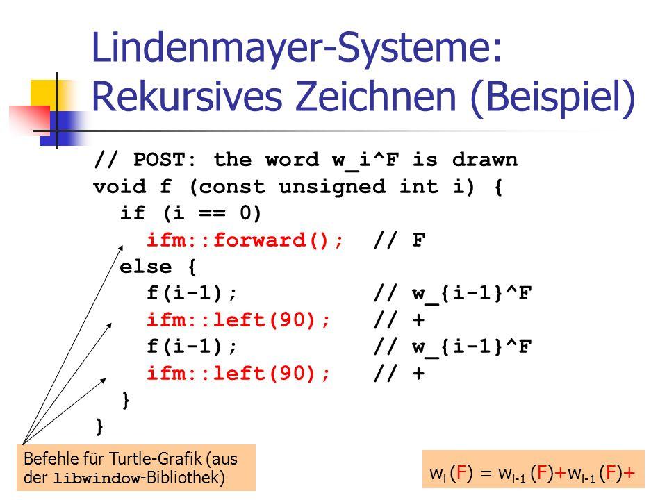 Lindenmayer-Systeme: Rekursives Zeichnen (Beispiel) // POST: the word w_i^F is drawn void f (const unsigned int i) { if (i == 0) ifm::forward(); // F else { f(i-1); // w_{i-1}^F ifm::left(90); // + f(i-1); // w_{i-1}^F ifm::left(90); // + } w i (F) = w i-1 (F)+w i-1 (F)+ Befehle für Turtle-Grafik (aus der libwindow -Bibliothek)