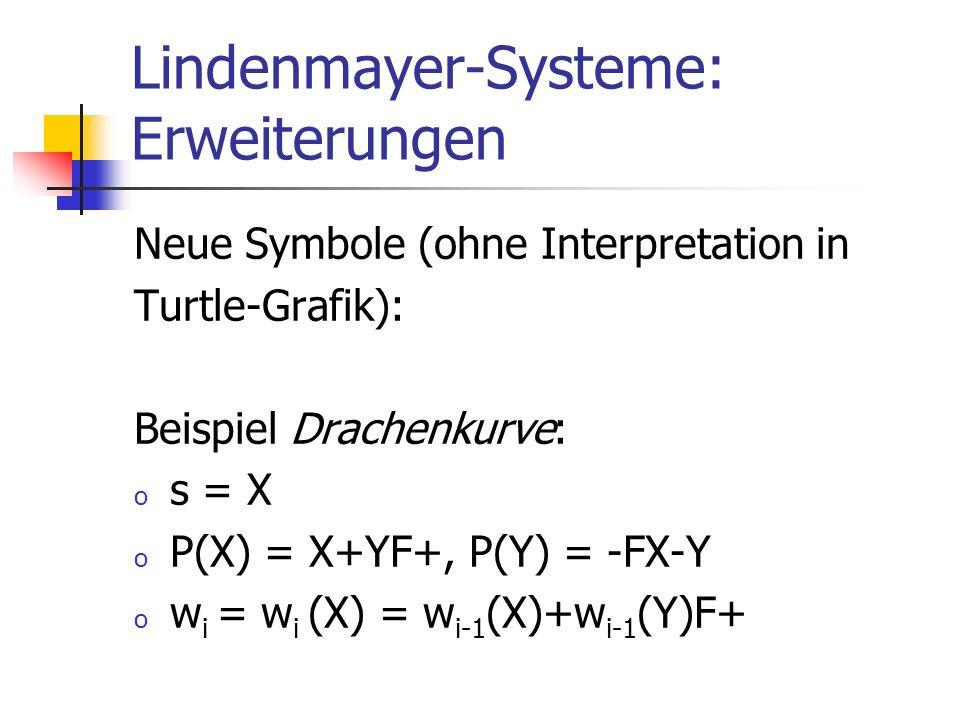 Lindenmayer-Systeme: Erweiterungen Neue Symbole (ohne Interpretation in Turtle-Grafik): Beispiel Drachenkurve: o s = X o P(X) = X+YF+, P(Y) = -FX-Y o