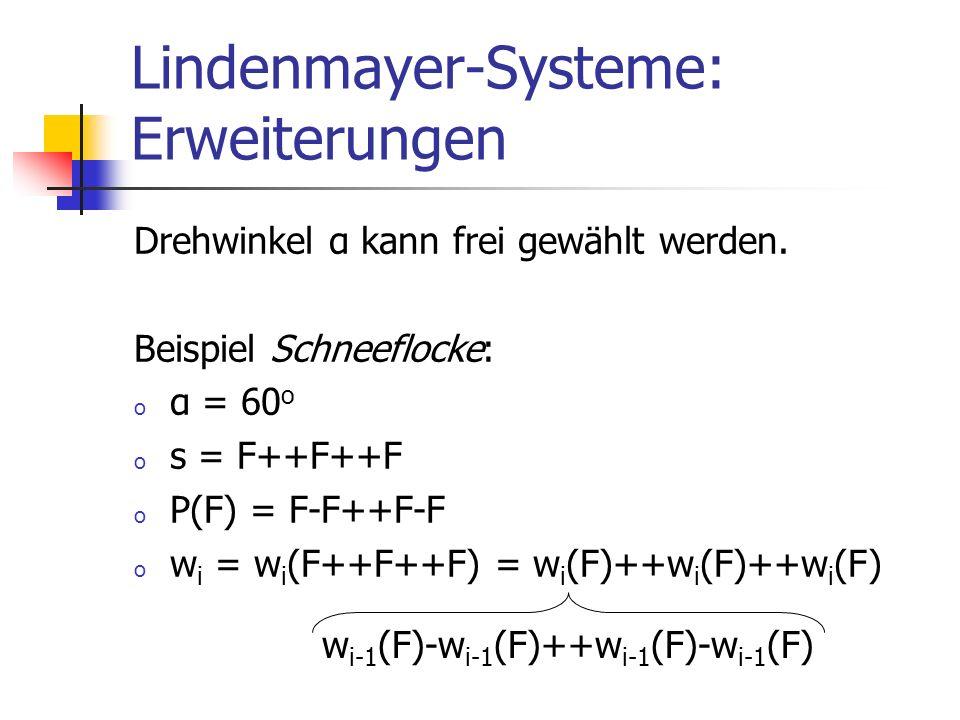 Lindenmayer-Systeme: Erweiterungen Drehwinkel α kann frei gewählt werden. Beispiel Schneeflocke: o α = 60 o o s = F++F++F o P(F) = F-F++F-F o w i = w