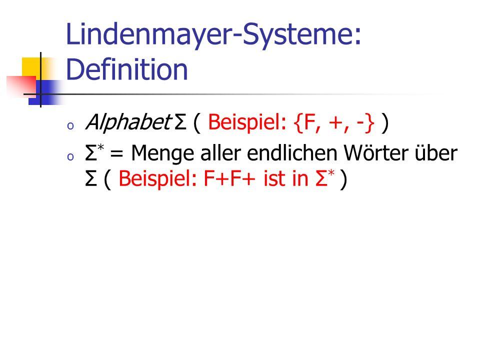 Lindenmayer-Systeme: Definition o Alphabet Σ ( Beispiel: {F, +, -} ) o Σ * = Menge aller endlichen Wörter über Σ ( Beispiel: F+F+ ist in Σ * )