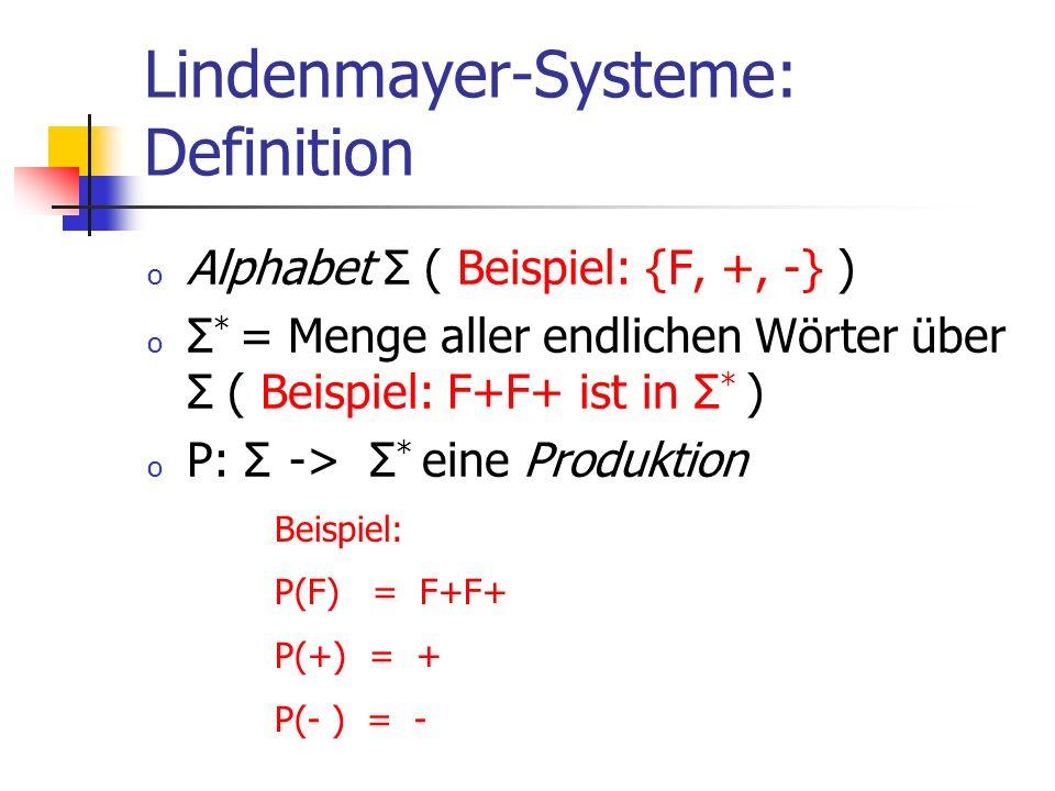 Lindenmayer-Systeme: Definition o Alphabet Σ ( Beispiel: {F, +, -} ) o Σ * = Menge aller endlichen Wörter über Σ ( Beispiel: F+F+ ist in Σ * ) o P: Σ