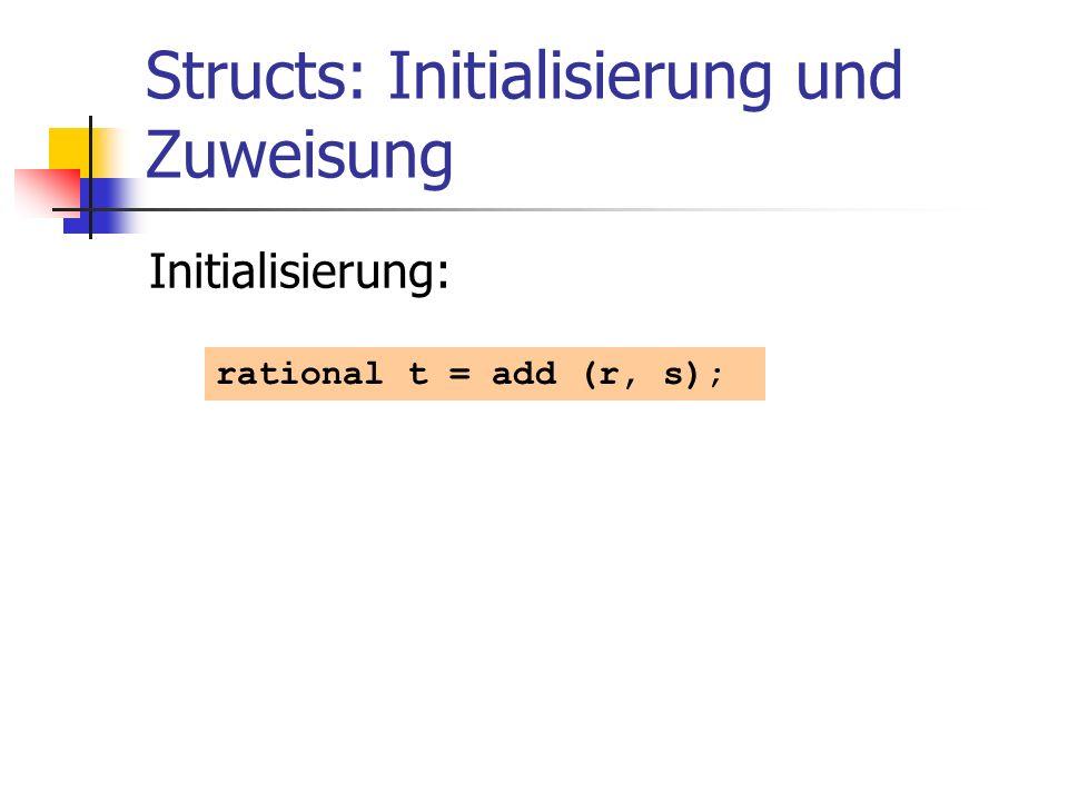 Structs: Initialisierung und Zuweisung Initialisierung: rational t = add (r, s);