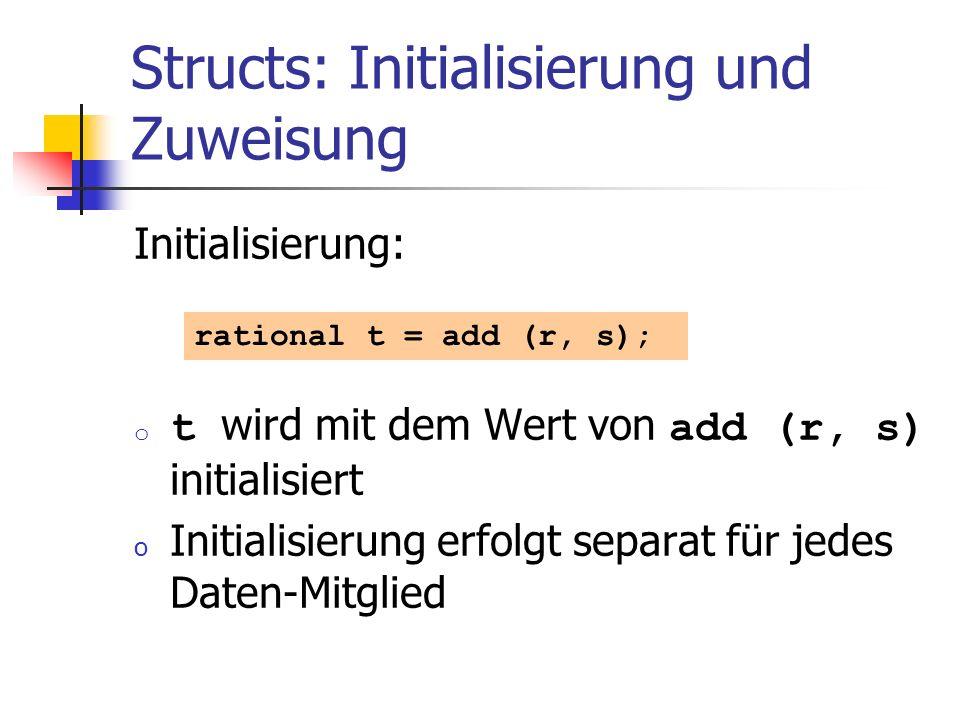 Structs: Initialisierung und Zuweisung Initialisierung: o t wird mit dem Wert von add (r, s) initialisiert o Initialisierung erfolgt separat für jedes