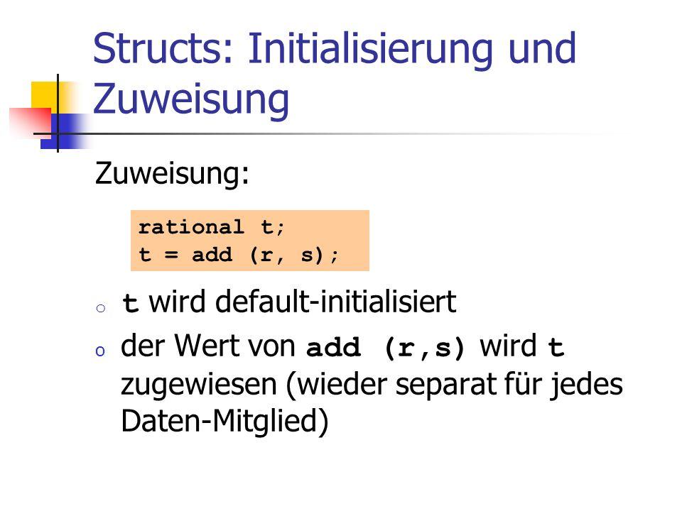 Structs: Initialisierung und Zuweisung Zuweisung: o t wird default-initialisiert o der Wert von add (r,s) wird t zugewiesen (wieder separat für jedes