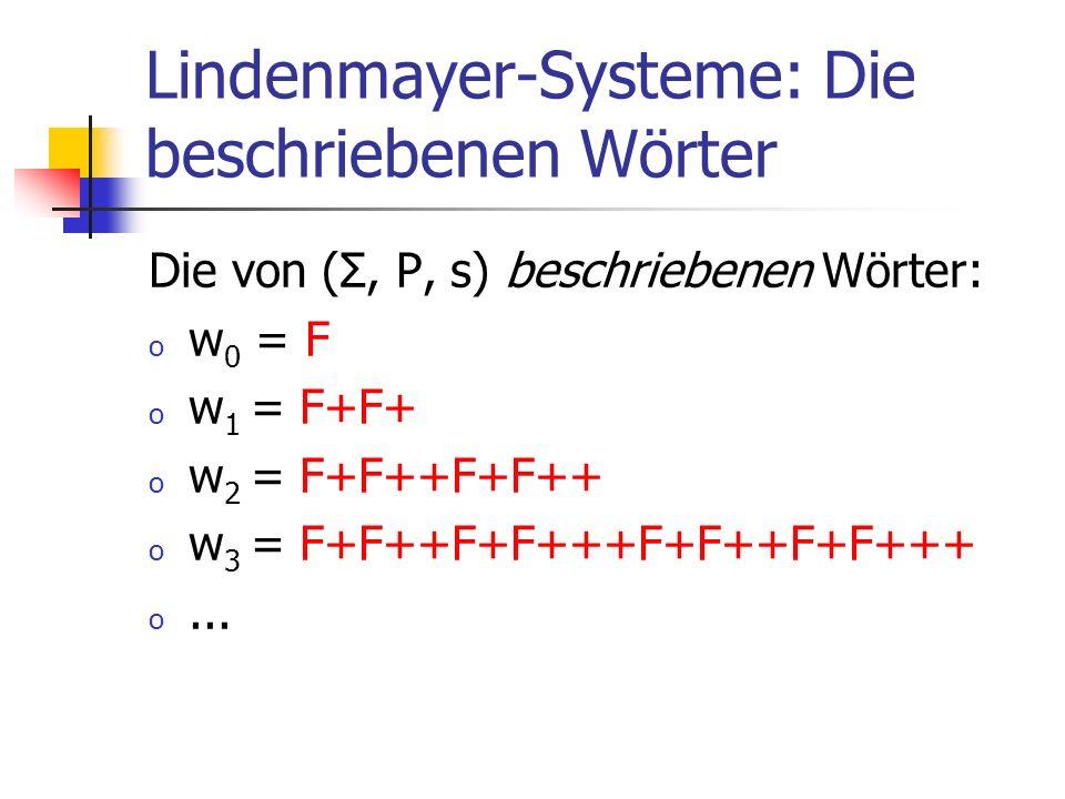 Lindenmayer-Systeme: Die beschriebenen Wörter Die von (Σ, P, s) beschriebenen Wörter: o w 0 = F o w 1 = F+F+ o w 2 = F+F++F+F++ o w 3 = F+F++F+F+++F+F