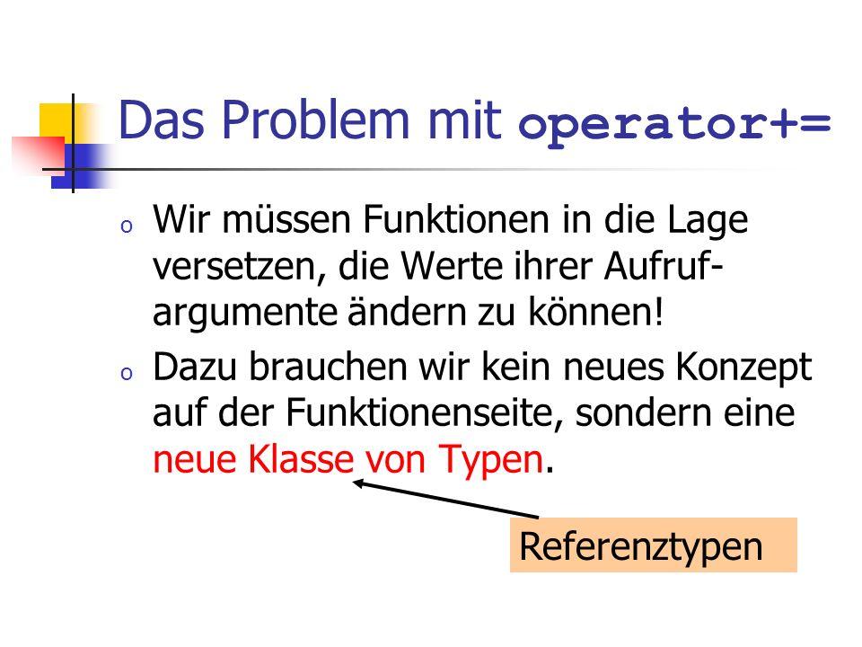 Das Problem mit operator+= o Wir müssen Funktionen in die Lage versetzen, die Werte ihrer Aufruf- argumente ändern zu können! o Dazu brauchen wir kein