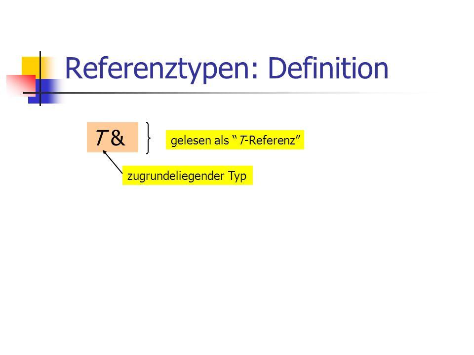 Referenztypen: Definition T & zugrundeliegender Typ gelesen als T-Referenz