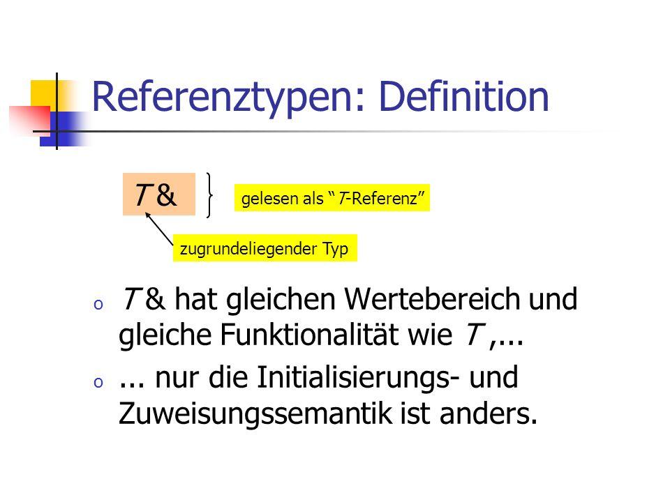 Referenztypen: Definition o T & hat gleichen Wertebereich und gleiche Funktionalität wie T,... o... nur die Initialisierungs- und Zuweisungssemantik i