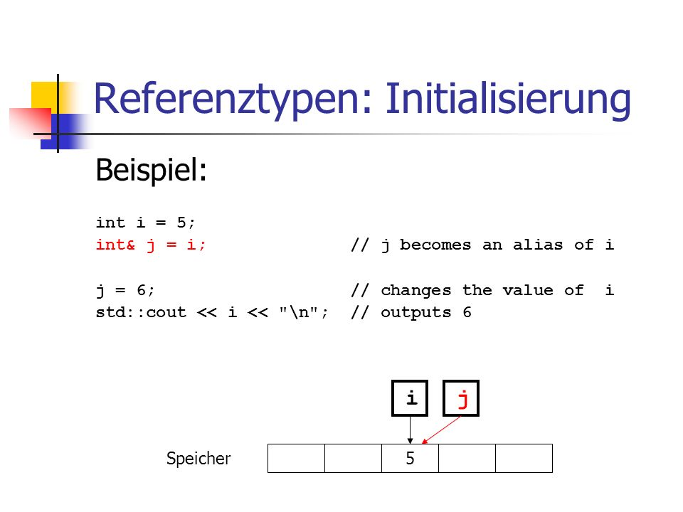 Referenztypen: Initialisierung Beispiel: int i = 5; int& j = i; // j becomes an alias of i j = 6; // changes the value of i std::cout << i <<
