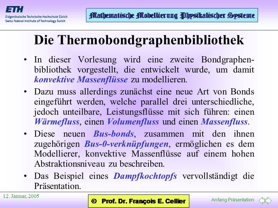 Anfang Präsentation 12. Januar, 2005 Die Thermobondgraphenbibliothek In dieser Vorlesung wird eine zweite Bondgraphen- bibliothek vorgestellt, die ent
