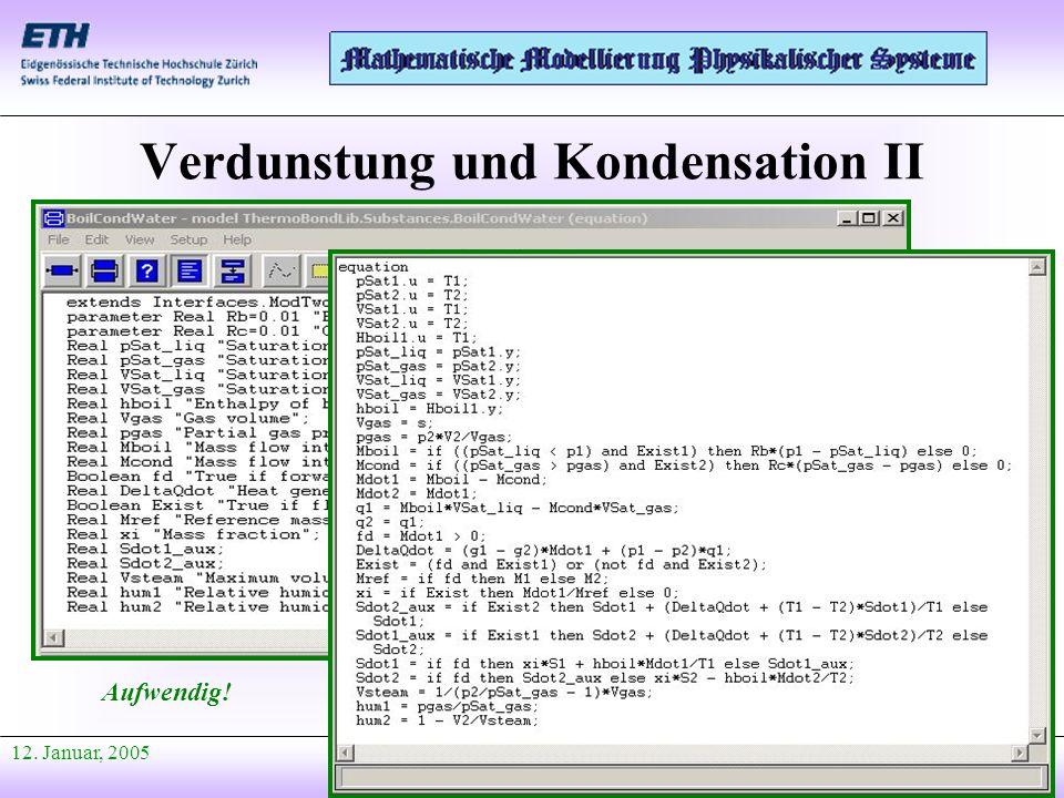 Anfang Präsentation 12. Januar, 2005 Verdunstung und Kondensation II Aufwendig!
