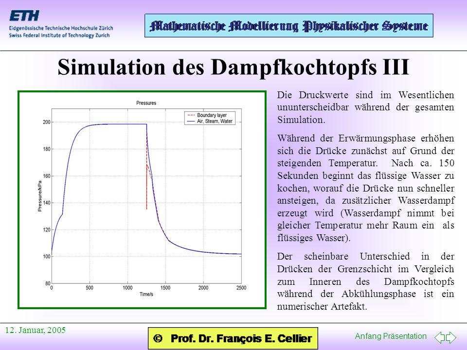 Anfang Präsentation 12. Januar, 2005 Simulation des Dampfkochtopfs III Die Druckwerte sind im Wesentlichen ununterscheidbar während der gesamten Simul