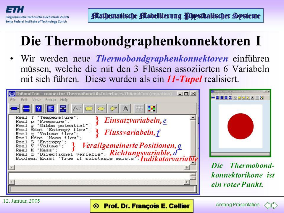 Anfang Präsentation 12. Januar, 2005 Die Thermobondgraphenkonnektoren I Wir werden neue Thermobondgraphenkonnektoren einführen müssen, welche die mit