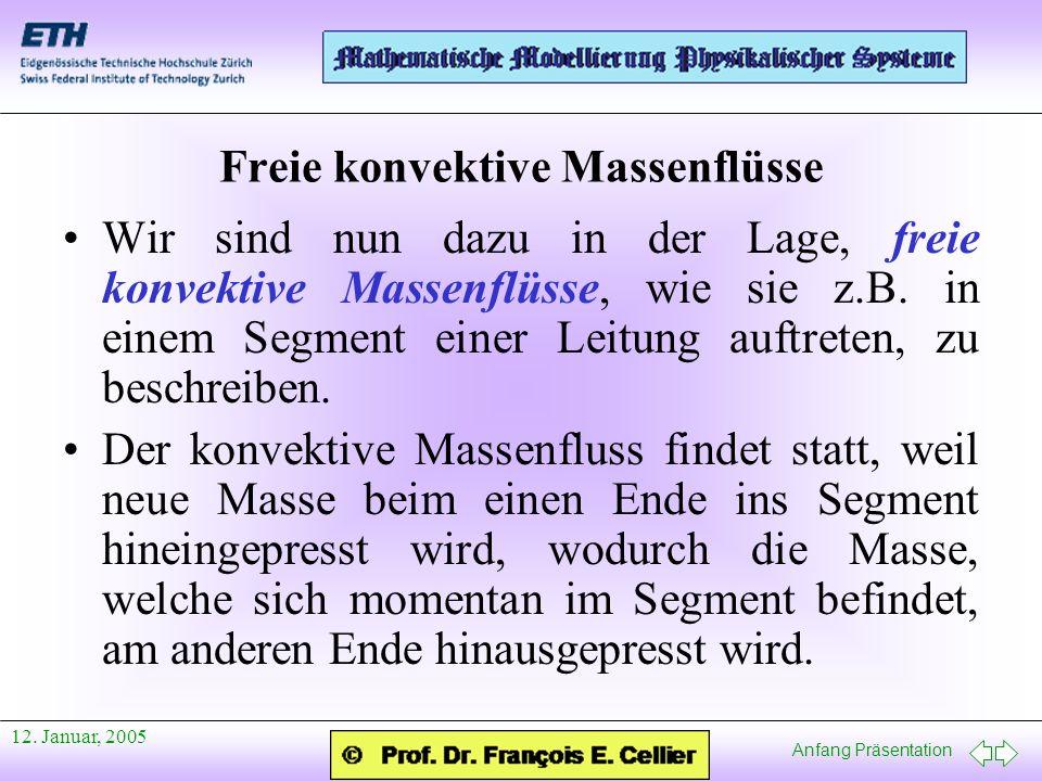 Anfang Präsentation 12. Januar, 2005 Freie konvektive Massenflüsse Wir sind nun dazu in der Lage, freie konvektive Massenflüsse, wie sie z.B. in einem