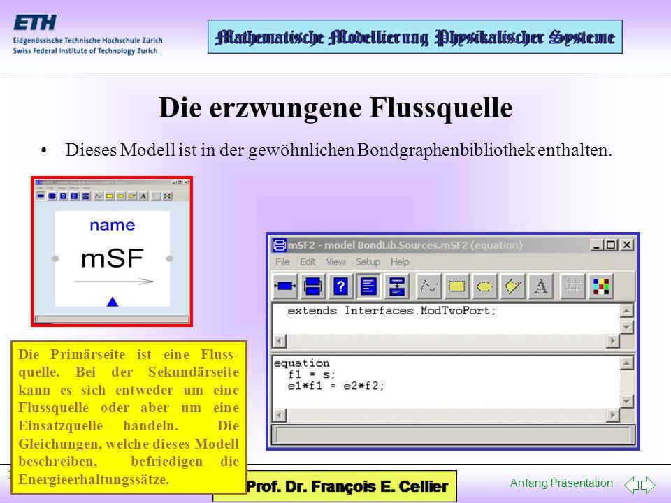 Anfang Präsentation 12. Januar, 2005 Die erzwungene Flussquelle Dieses Modell ist in der gewöhnlichen Bondgraphenbibliothek enthalten. Die Primärseite