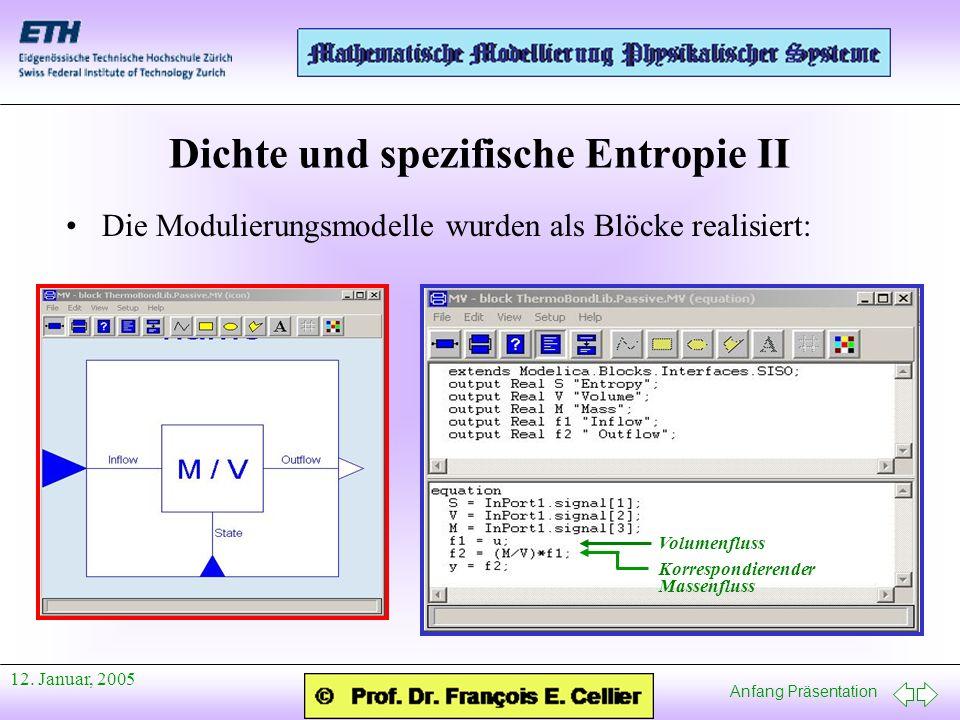Anfang Präsentation 12. Januar, 2005 Dichte und spezifische Entropie II Die Modulierungsmodelle wurden als Blöcke realisiert: Volumenfluss Korrespondi