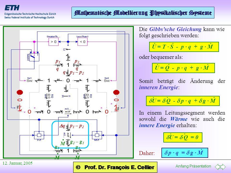 Anfang Präsentation 12. Januar, 2005 Die Gibbssche Gleichung kann wie folgt geschrieben werden: U = T · S - p · q + g · M ··· oder bequemer als: U = Q