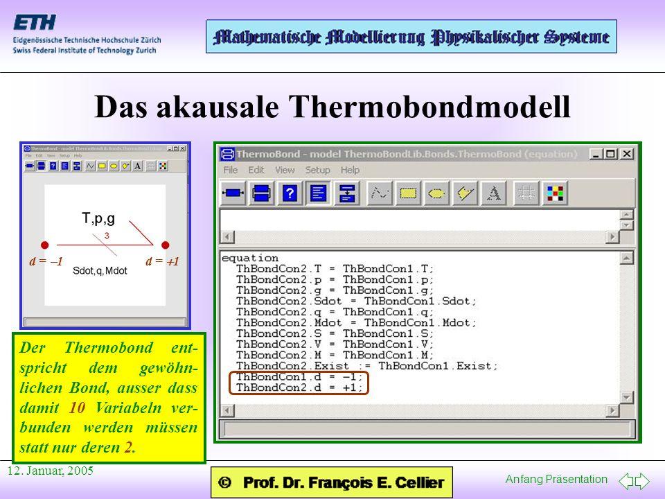 Anfang Präsentation 12. Januar, 2005 Das akausale Thermobondmodell d = 1 Der Thermobond ent- spricht dem gewöhn- lichen Bond, ausser dass damit 10 Var