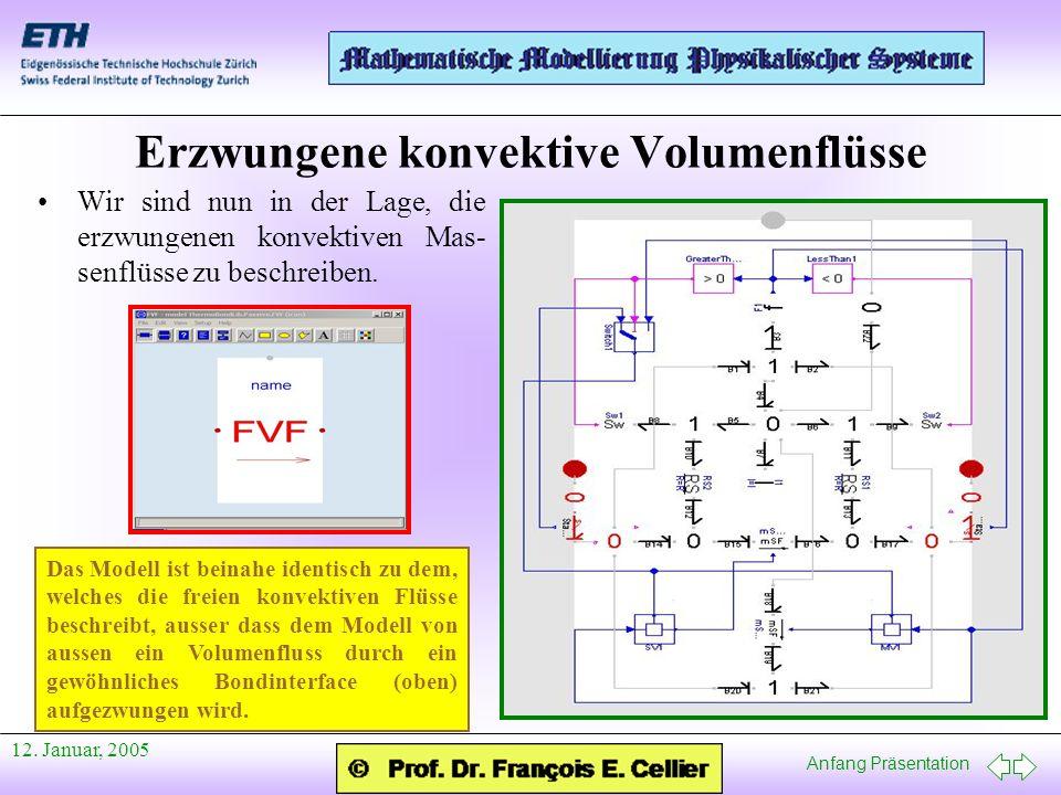Anfang Präsentation 12. Januar, 2005 Erzwungene konvektive Volumenflüsse Wir sind nun in der Lage, die erzwungenen konvektiven Mas- senflüsse zu besch