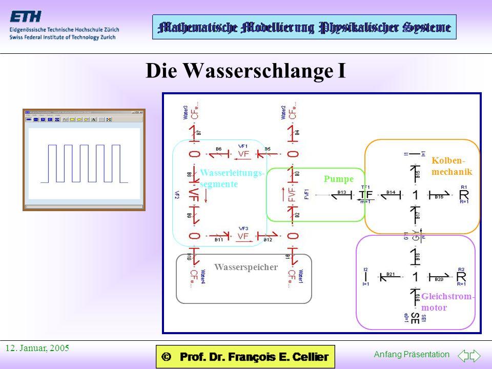 Anfang Präsentation 12. Januar, 2005 Die Wasserschlange I Gleichstrom- motor Kolben- mechanik Pumpe Wasserleitungs- segmente Wasserspeicher