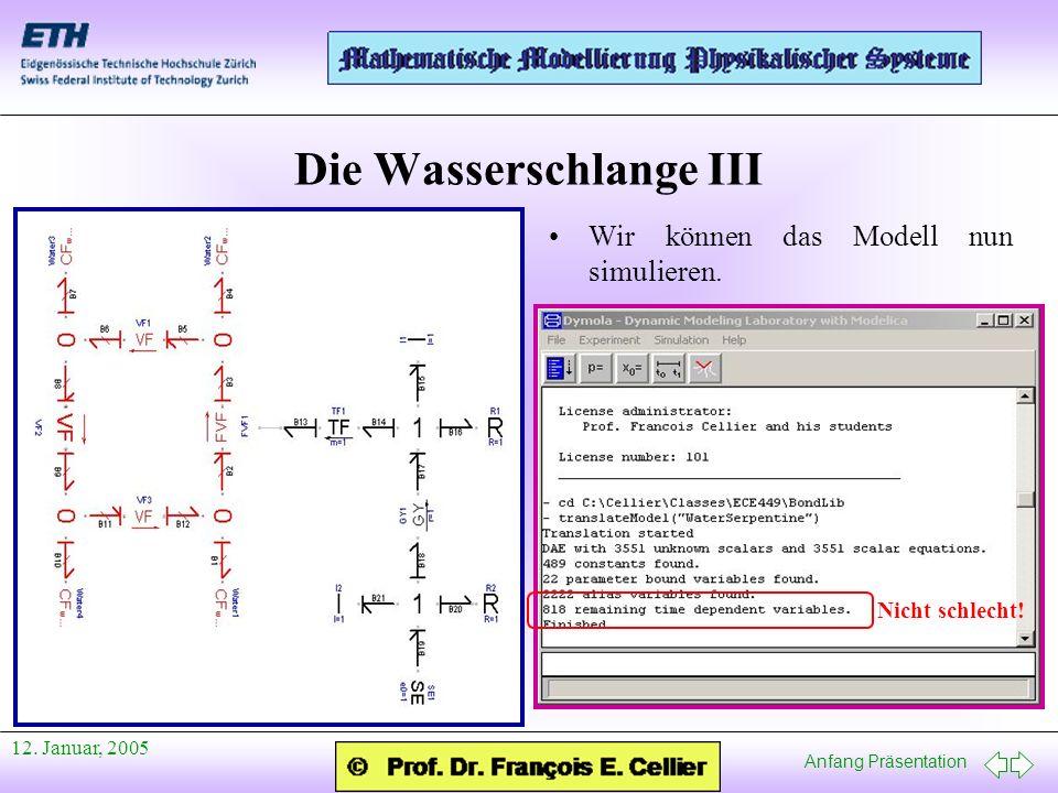 Anfang Präsentation 12. Januar, 2005 Die Wasserschlange III Wir können das Modell nun simulieren. Nicht schlecht!