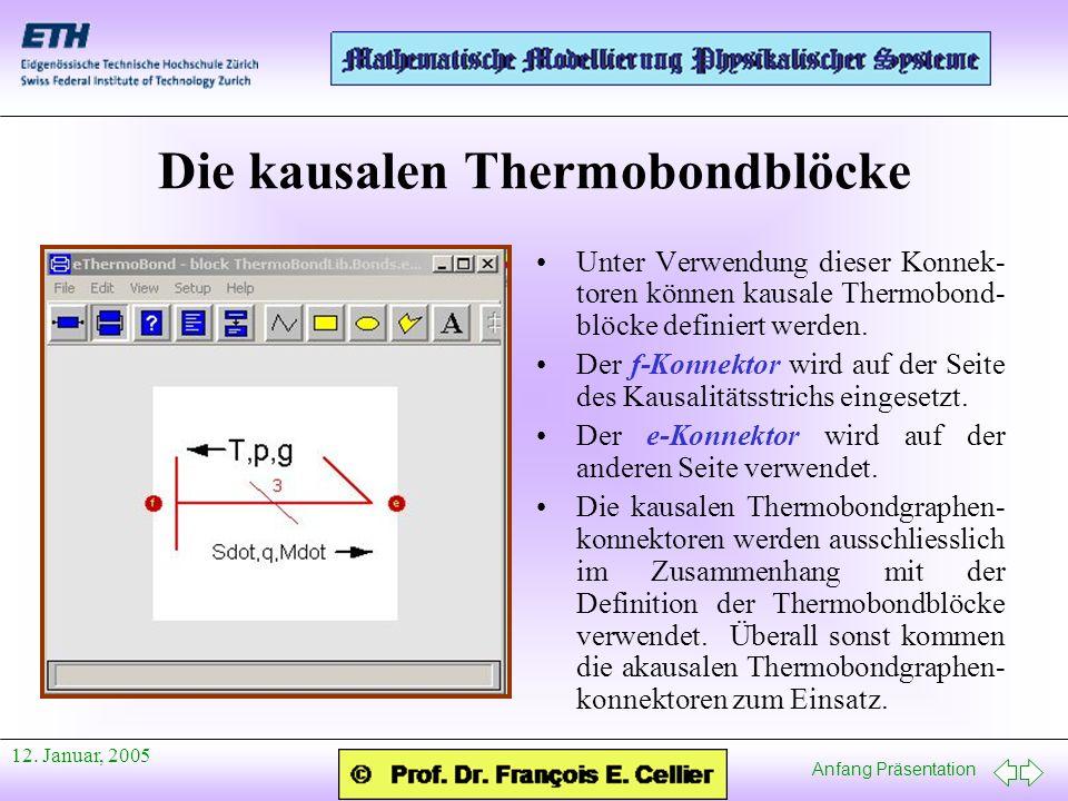 Anfang Präsentation 12. Januar, 2005 Die kausalen Thermobondblöcke Unter Verwendung dieser Konnek- toren können kausale Thermobond- blöcke definiert w