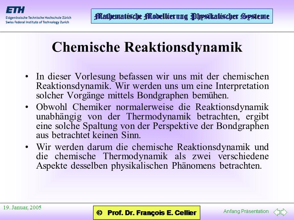 Anfang Präsentation 19. Januar, 2005 Chemische Reaktionsdynamik In dieser Vorlesung befassen wir uns mit der chemischen Reaktionsdynamik. Wir werden u