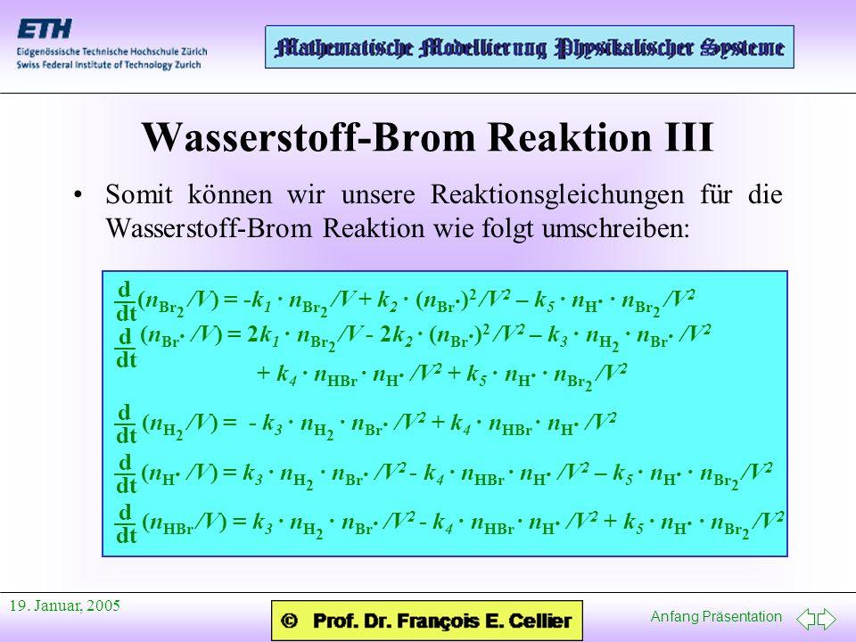 Anfang Präsentation 19. Januar, 2005 Wasserstoff-Brom Reaktion III d dt (n Br 2 /V) = -k 1 · n Br 2 /V + k 2 · (n Br · ) 2 /V 2 – k 5 · n H · · n Br 2