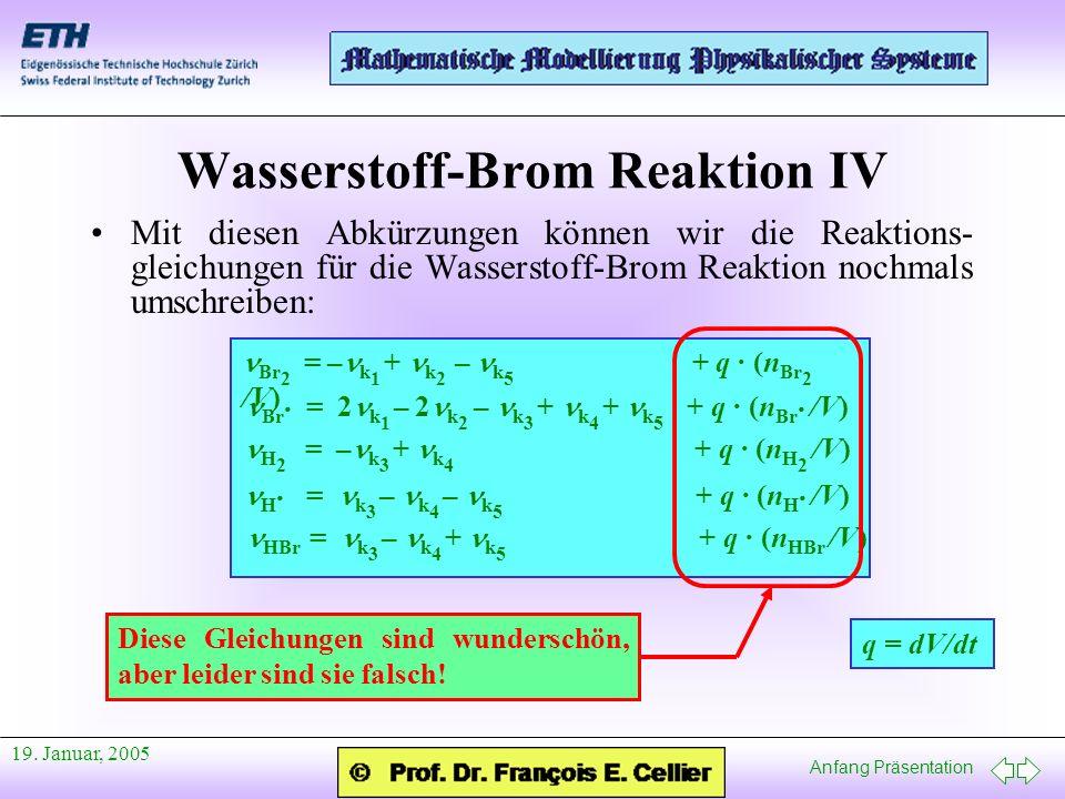Anfang Präsentation 19. Januar, 2005 Wasserstoff-Brom Reaktion IV Mit diesen Abkürzungen können wir die Reaktions- gleichungen für die Wasserstoff-Bro