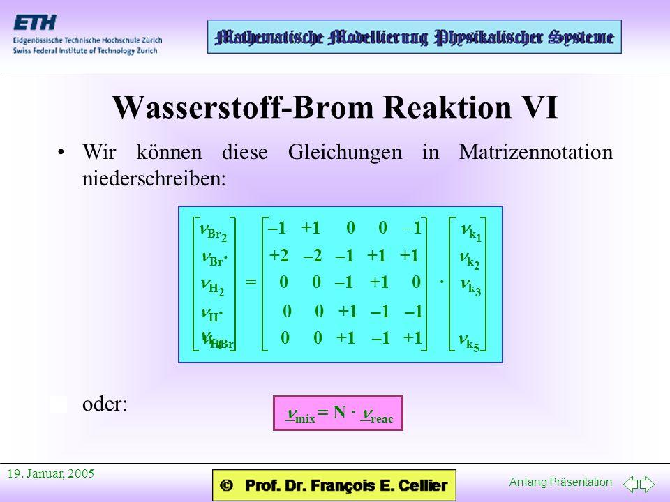 Anfang Präsentation 19. Januar, 2005 Wasserstoff-Brom Reaktion VI Wir können diese Gleichungen in Matrizennotation niederschreiben: oder: Br 2 –1 +1 0