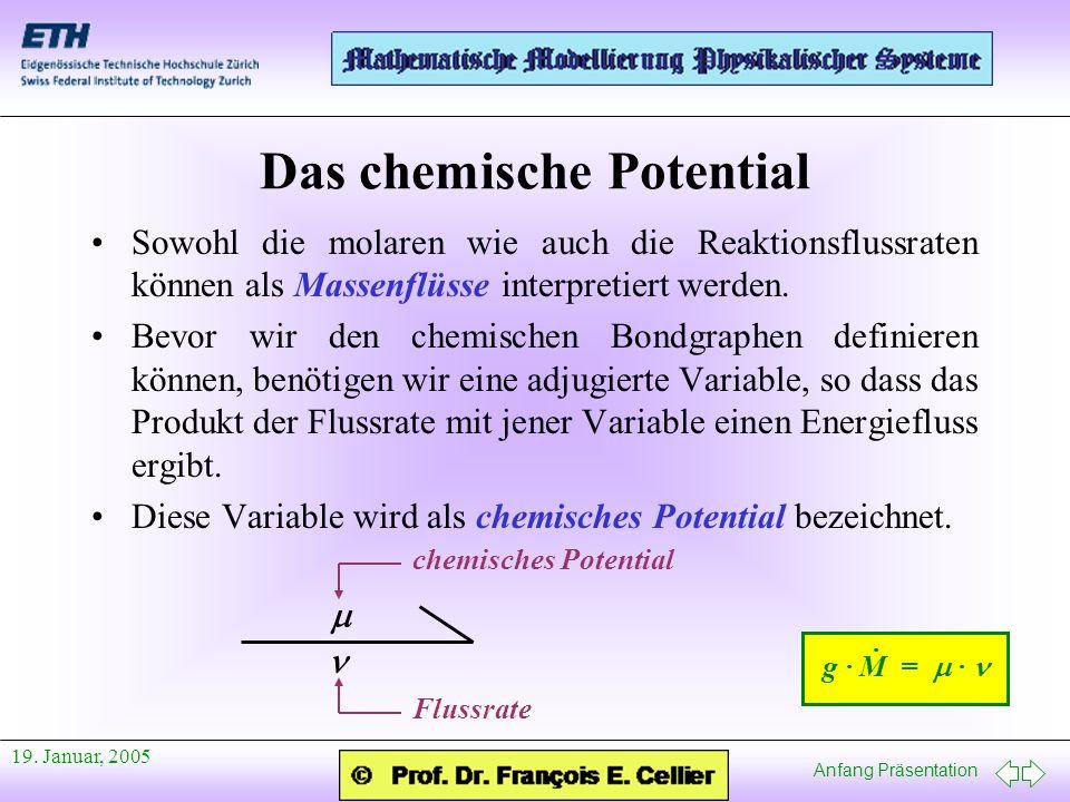 Anfang Präsentation 19. Januar, 2005 Das chemische Potential Sowohl die molaren wie auch die Reaktionsflussraten können als Massenflüsse interpretiert