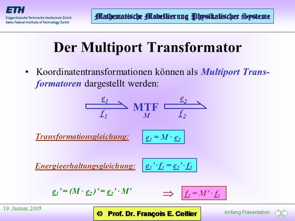 Anfang Präsentation 19. Januar, 2005 Der Multiport Transformator Koordinatentransformationen können als Multiport Trans- formatoren dargestellt werden