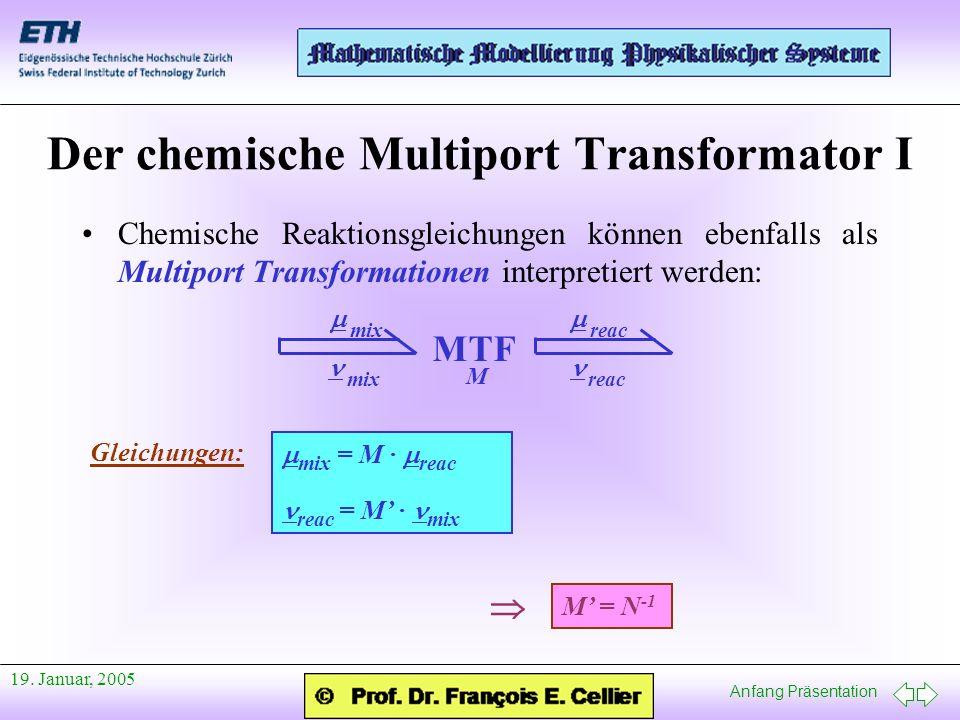 Anfang Präsentation 19. Januar, 2005 Der chemische Multiport Transformator I Chemische Reaktionsgleichungen können ebenfalls als Multiport Transformat