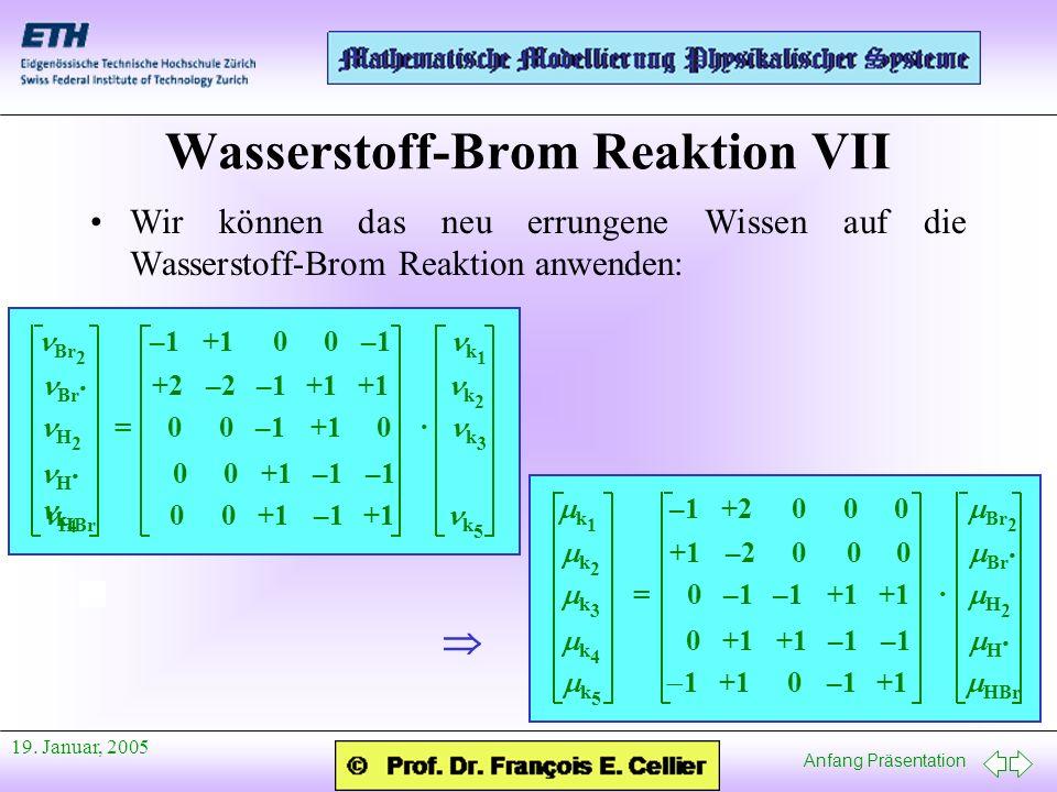 Anfang Präsentation 19. Januar, 2005 Wasserstoff-Brom Reaktion VII Wir können das neu errungene Wissen auf die Wasserstoff-Brom Reaktion anwenden: Br