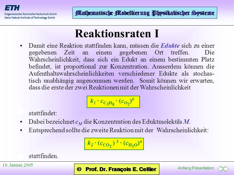 Anfang Präsentation 19. Januar, 2005 Damit eine Reaktion stattfinden kann, müssen die Edukte sich zu einer gegebenen Zeit an einem gegebenen Ort treff