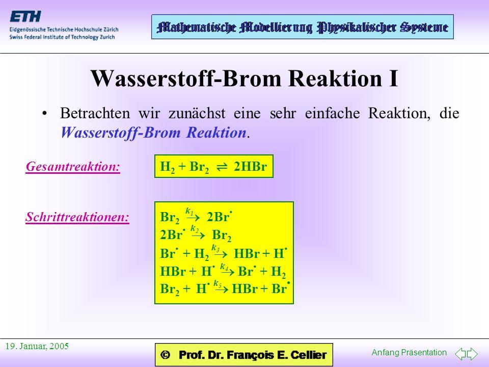 Anfang Präsentation 19. Januar, 2005 Wasserstoff-Brom Reaktion I Betrachten wir zunächst eine sehr einfache Reaktion, die Wasserstoff-Brom Reaktion. G