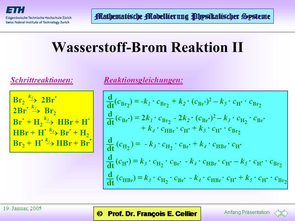 Anfang Präsentation 19. Januar, 2005 Wasserstoff-Brom Reaktion II Reaktionsgleichungen: (c Br 2 ) = -k 1 · c Br 2 + k 2 · (c Br · ) 2 – k 5 · c H · ·