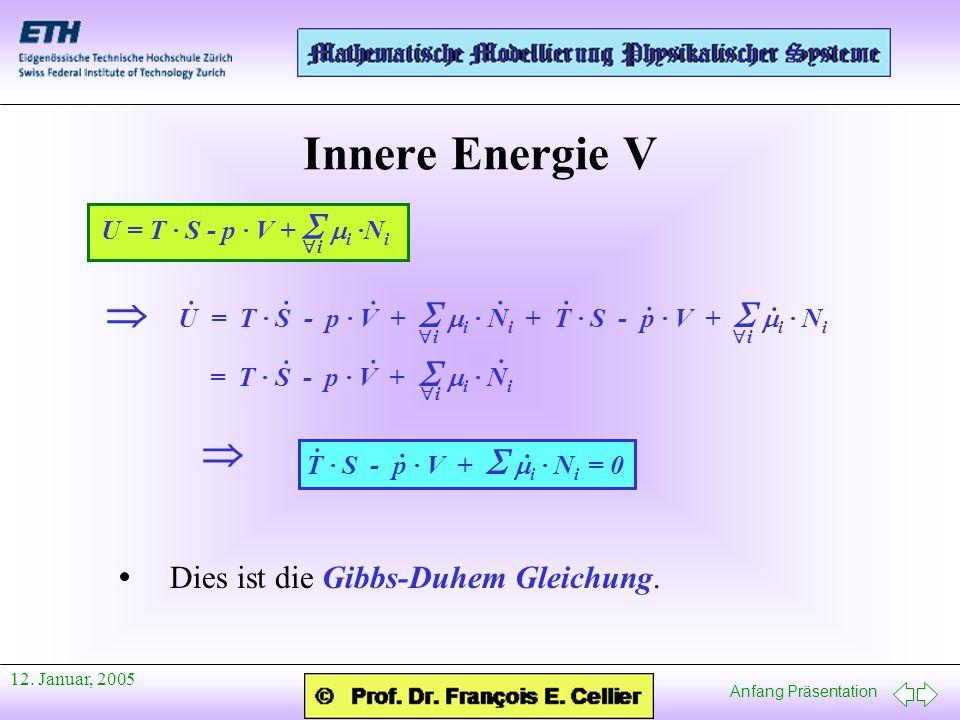 Anfang Präsentation 12. Januar, 2005 Innere Energie V U = T · S - p · V + i ·N i i U = T · S - p · V + i · N i + T · S - p · V + i · N i i ···· i · ·