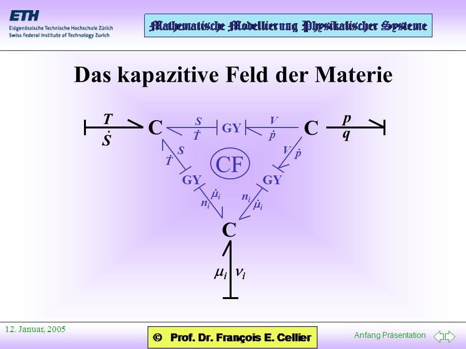 Anfang Präsentation 12. Januar, 2005 Das kapazitive Feld der Materie C C C GY T S · p q i i V p · p · V T · T · S S i · i · nini nini CF