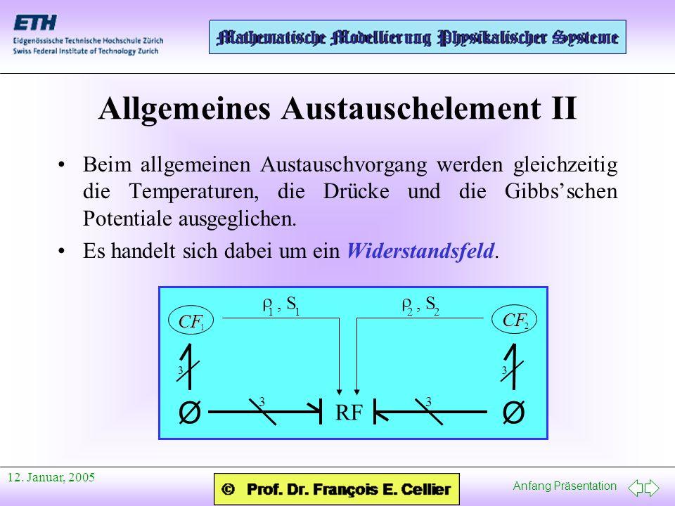 Anfang Präsentation 12. Januar, 2005 Allgemeines Austauschelement II Beim allgemeinen Austauschvorgang werden gleichzeitig die Temperaturen, die Drück